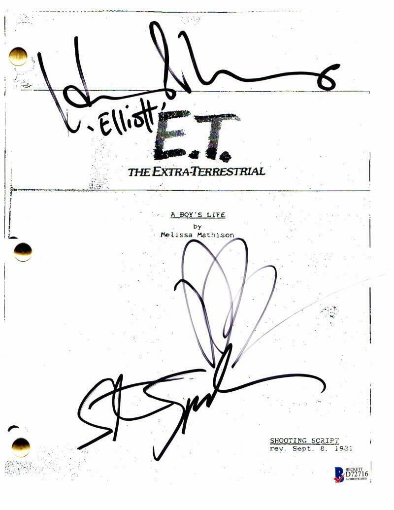 DREW BARRYMORE, STEVEN SPIELBERG, HENRY THOMAS SIGNED AUTOGRAPH – ET E.T.